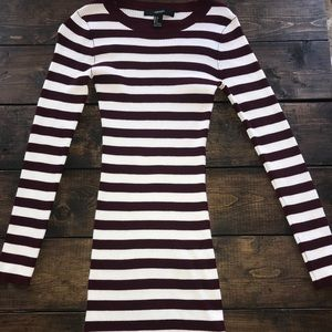 Maroon and white colored stripe tight dress